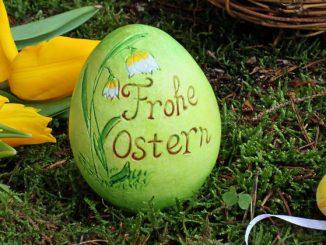 Ostereier und Tulpen zu Ostern